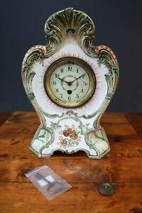 Ceramic Clock Art Nouveau Zell Georg Schmider Antique Germany Mantle Pendulum