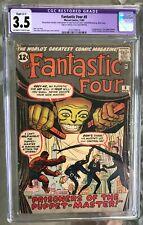 Fantastic Four #8 (1962) CGC 3.5 -- 1st Puppet Master & Alicia Masters; restored