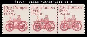 USA4 #1908 MNH PNC3 Pl # 1 Fire Pumper 1860s