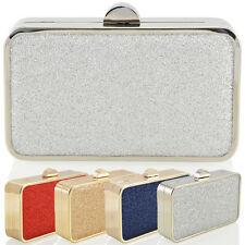 NEW WOMENS CLUTCH EVENING LADIES GLITTER SPARKLY PARTY PROM BRIDAL BOX BAG UK