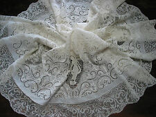Antique Tablecloth French Point de France & White Work Embroidery,Mixed Lace 50""