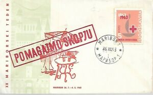 Yugoslavia POMAGAJMO SKOPJU  1963 RED CROSS FIRST DAY COVER MY REF 4104