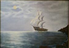 "DRAMATIC TALL SHIP OIL PAINTING ""SAILING IN MOONLIGHT"" SIGNED ""LLOYD ENGLAND""!"