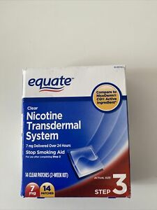 Equate Nicotine Transdermal System Step 3 Clear Patches 7 mg 14 Ct Exp: 01/23