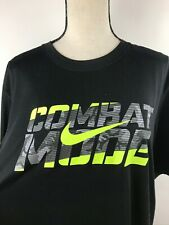 Large Nike Dri Fit COMBAT MODE Compression Shirt Workout Gear Soft Black Neon