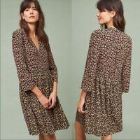 Anthropologie Maeve Juno Leopard Dress Size S