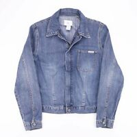 Vintage CALVIN KLEIN Blue Full Zip Fitted Denim Jacket Size Women's Medium