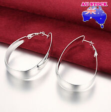 Polished Big Oval Hoop Party Earrings Wholesale 925 Sterling Silver Filled High