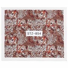 Nail Art Water Decals Stickers Transfers Brown Leopard Animal Print Tiger (854)