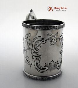 Shell Foliate Repousse Mug Peter Krider 1850 Coin Silver No Monogram