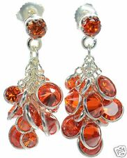 Solid 925 Sterling Silver Red CZ Cluster Earrings '