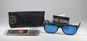 Ray Ban New Wayfarer Black/Clear w/Blue Lenses Sunglasses RB 2132 6052 55[]18 3N