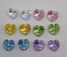 Swarovski Crystal Heart Ab Aquamarine 10mm Heart 6228 Pendants 6 Pack