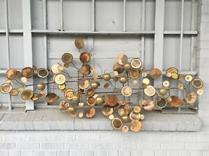 """AS IS Midcentury C Jere Abstract Brass LG Raindrops Metal Wall Sculpture Art 64"""""""
