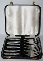 Vintage Boxed Set of 6 Stainless Steel Pastry Forks - FREE Postage [PL1240]
