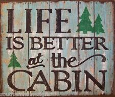 Life Is Better At The Cabin Rustic Primitive Distressed Wood Sign Home Decor