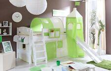 Lit mezzanine avec toboggan et tour KENNY Pin teinté blanc tissus Beige-Vert