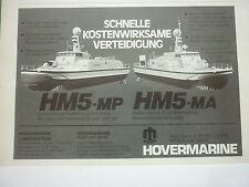 6/1977 PUB HOVERMARINE HM5-MP HM5-MA GARDE COTES COAST GUARD ORIGINAL GERMAN AD