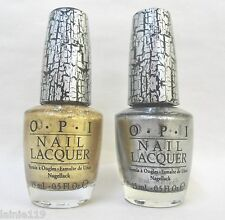 Lot of 2 OPI Nail Polish Lacquer, GOLD SHATTER and SILVER SHATTER, Full Sized