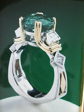 Sterling Silver and 18Kt Emerald Stone Ring with Accent Princess Cuts Size 8