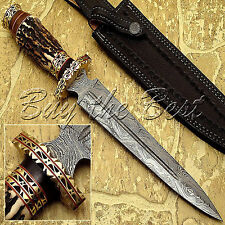 BEAUTIFUL CUSTOM HAND MADE DAMASCUS STEEL HUNTING DAGGER BOWIE KNIFE STAG HANDLE