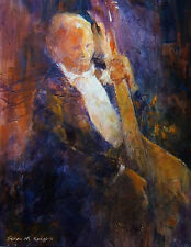"""STUNNING ORIGINAL SERA KNIGHT S.W.A """"Lost In Music"""" Concert Orchestra PAINTING"""