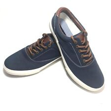 Tommy Hilfiger NYC TM Palmer Blue Canvas Shoes Leather Mens US 11W Low EUC