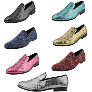 Amali Mens Tuxedo Dress Shoes Sparkly Glitter Encrusted Smoking Slip on Loafers