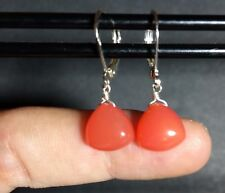 Petite Orange Chalcedony Triangle Brio SOLID STERLING SILVER Leverback Earrings