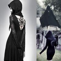 Gothic Punk Style Hem Hoodie Women  Long Sleeve Tunic Tops Vintage Cowl Costume