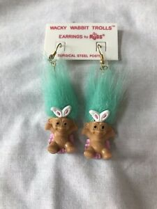 Russ Easter Wacky Wabbit Troll Earrings Surgical Steel Posts Vintage Green Hair