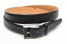 Martin Dingman Mens Dress Belt 42 Black Leather Pebble Grain Chrome Buckle USA