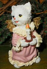 Stone Hand Painted White Kitten Angel Cat Figurine Af-3060