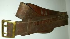 BRAUER BROTHERS LEATHER AMMO & GUN BELT 22C 200 32 ROUNDS BRASS BUCKLE