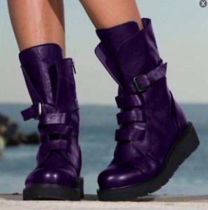 Womens Mid Calf Boot Low Heel Zipper Buckle Combat Round Toe Shoes Comfy Outdoor