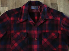 New listing Vtg 50s Pendleton Loop Collar Wool Board Shirt, Plaid Reds & Blues, Medium Mint