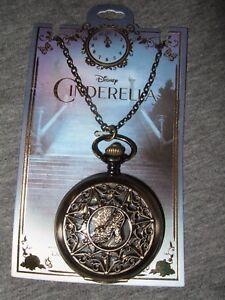 Nwt Disney Burnished Gold Tone Cinderella Glass Slipper Pocket Watch Necklace