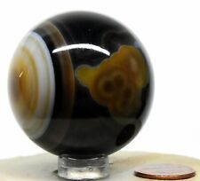 46mm Banded Multicolor Agate Sphere Chalcedony Gemstone Mineral Ball India +Stnd