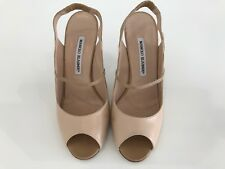 MANOLO BLAHNIK OSTROVSKY BEIGE NUDE KID LEATHER MARY JANE SLING-BACKS SIZE 8