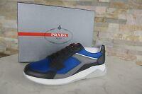 PRADA Gr 43  9 Sneakers Schnürschuhe Schuhe anthrazit + blau  NEU ehem UVP 470 €