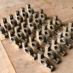 X24 STAIR ROD CLIPS Rod 15mm Bracket Solid Brass Antique Quality Carpet Rug Old