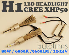 H1 LED CREE XHP50 80W 6000K 9600LM Car White Head Light Lamp Kit Globes Bulbs