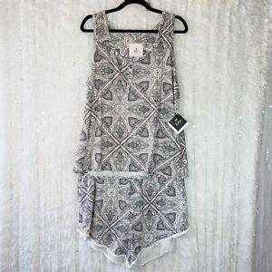 NEW Pajama Set 2Pc Size 2X Tank Top Lounge Shorts Gray Paisley ECHO SLEEP WEAR