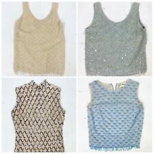 New listing Lot Of 4 Vtg 1960s Beaded Sequin Sparkly Hong Kong Sweater Tops