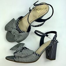 3b83918ae New Circus by Sam Edelman Women s Blue Eva Striped Ankle Block Heel Sandals  - 11