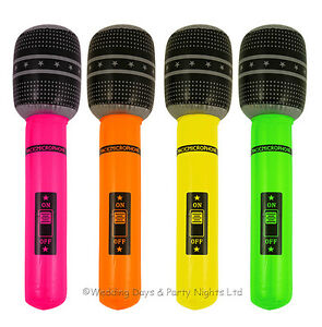 4 x Neon Inflatable Blow Up Microphone 60s 70s 80s Disco Fancy Dress Party Prop