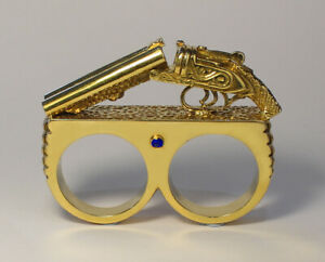 2 Finger Statement Shotgun Ring with Sapphire, 9ct Gold Dipped - Mens, 86g