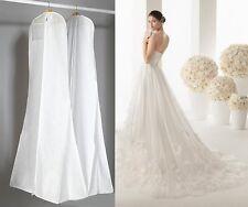 "WHITE Showerproof Wedding Dress Cover Garment Clothes Storage Zip Bag 72"""