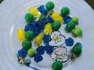 Vintage Crystal Intaglio Glass Butterfly Pendent Bead Soup Mix DIY Jewelry Makin