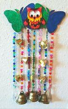 Owl & Butterflies SUN CATCHER / WIND CHIMES, 2 Crystal Prisms, 9 Brass Bells